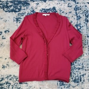 SALE! Boden Ruffle front button up cardigan